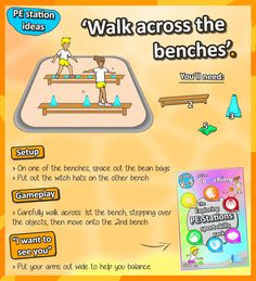 • Bench balancing • Are you an elementary teacher? Here's some great ideas for your kids perceptual motor-skills - check out loads more PE station ideas here!
