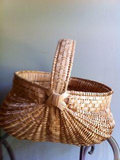 Vintage Hand Woven Basket by JunkyardGenes on Etsy, $45.00