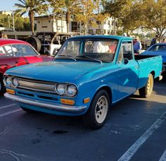 Datsun 521 at Cars and Coffee this morning.  Tag the owner he's sitting in the back of bed! #Datsun #Datsun521 #521 #DatsunTruck #truck #minitruck