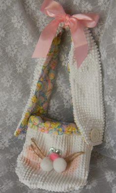 How to make Chennille Bedspread Bunny Bag - DIY Craft Project with instructions from Craftbits.com