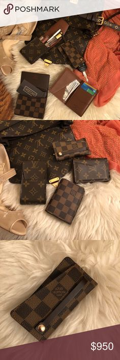 """🚫SOLD🚫Auth LV 4 piece mixed print SLG bundle Monogram Cigarette Case (lipstick holder): Excellent condition.CT0022 2.5""""Lx4.75""""H Damier Ebene Key Holder/ Key Fob: Excellent condition. Unsnap the button and your keys slide out, then pull the string back to tuck your keys inside! VI0072 4.5""""Lx2.25""""H Monogram Card Holder: Excellent condition. 9 places for cards & cash, including 1 exterior pocket. MI4154 4.5""""Lx3""""W Damier Ebene Business Card Holder: Excellent condition. Can hold roughly 20…"""