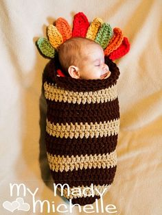 Stripe Baby Cocoon Turkey Crochet Pattern Thanksgiving 2014 - Thanksgiving Crafts, Thanksgiving Gifts
