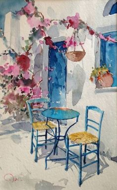 A lovely Greek water-colour painting from Santorini watercolor painting Greek tourism 2014 set to sizzle Watercolor Architecture, Watercolor Landscape, Landscape Paintings, Landscape Art, Painting & Drawing, Watercolor Paintings, Painting Abstract, Oil Paintings, Matisse Paintings