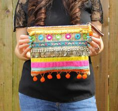 Ethnic Embellished Silver Coin Clutch Bag by RENIQLO on Etsy, £25.00