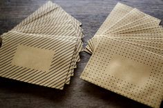 kraft polka dot and striped envelopes