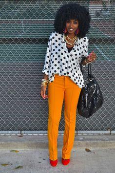 white polka dot shirt - black shirt - light orange Zara pants