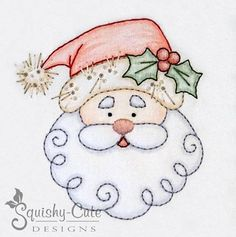 "Santa & Reindeer Hand Embroidery Patterns – Crayon Tinted – Christmas Stitchery Designs – ""Holly Jol – My Unique Wardrobe Learn Embroidery, Hand Embroidery Stitches, Crewel Embroidery, Hand Embroidery Designs, Vintage Embroidery, Embroidery Techniques, Ribbon Embroidery, Machine Embroidery, Embroidery Ideas"