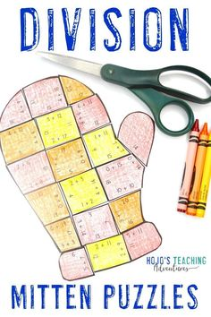 Click through to check out these division mitten math puzzles. They're great for the elementary 3rd, 4th, or 5th grade classroom or homeschool students to use in December, January, or anytime there's snow on the ground. Dividing practice, review, and centers will be fun with these engaging, hands on options. Learn more by clicking through now! (third, fourth, fifth graders, Year 3, 4, 5) #HoJoTeaches #Winter