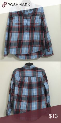 blue flannel henley style. coral and gray stripes. like new. Old Navy Tops Button Down Shirts