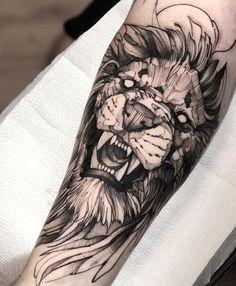 Sewing lion blackwork, black tattoo blackwork, blackwork tattoo olds… – skull tattoo sleeve Lion Head Tattoos, Forarm Tattoos, Dope Tattoos, Badass Tattoos, Black Tattoos, Tattoos For Guys, Sleeve Tattoos, Tatoos, Calf Tattoo
