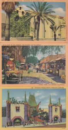 8 1950s West Coast USA Postcards Linen Oregon California by Sfuso