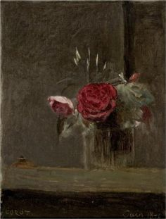 Roses in a Glass - Camille Corot