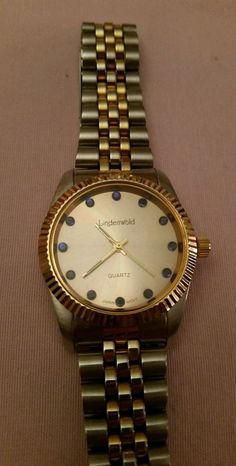 LINDENWOLD MEN'S WATCH TWO TONE BLUE STONES ON FACE WORKING  #Lindenwold #Dress