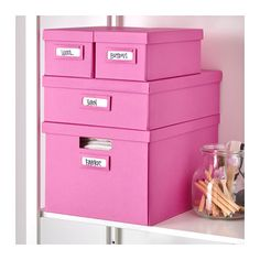 TJENA Box with lid - pink - IKEA