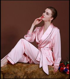 Women Pajama Set Fashion Satin Faux Silk Lady Robe Pants Bath Robe Lounge 2 Piece Pyjamas Sleep Suit