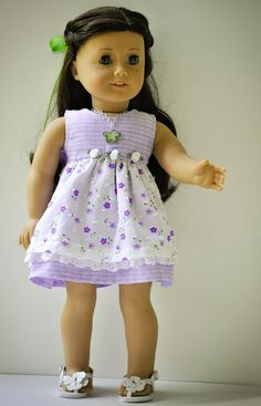 American Girl doll clothes dress hair clip necklace shoes