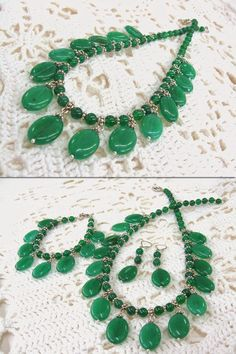 Chrysoprase Statement Necklace, natural gemstone vintage inspired collier, bib necklace with oval dangles, emerald green stone jewelry by SanaGem on Etsy https://www.etsy.com/listing/217349347/chrysoprase-statement-necklace-natural