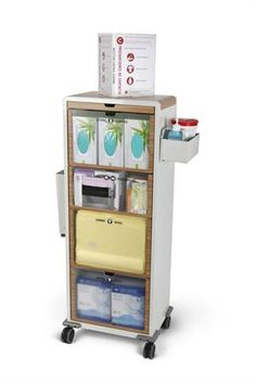 Isolation Station Wheeled Cart-tall, thin cart is perfect for staging ppe supplies between rooms or temporarily in patient rooms