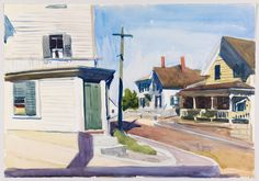 "(Street Corner), Edward Hopper, 1923-24, watercolor and graphite pencil on paper, 13 7/8 × 19 15/16"", Whitney Museum of American Art."
