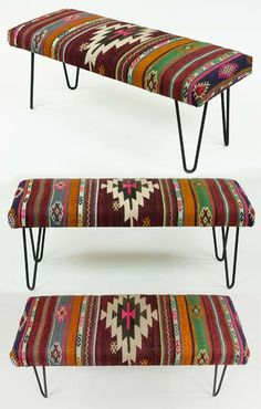Kilim bench upholstered with vintage Turkish kilim. The hairpin legs adds a modern look to the bench.