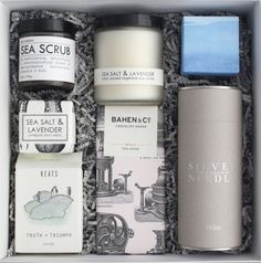 Contents - Pink clay soap by Herbivore Botanicals - Calm bath salts by Herbivore Botanicals - One gold tin of lavender lip balm by The Honey Hutch - One box of shortbread cookies by Willa's wrapped in