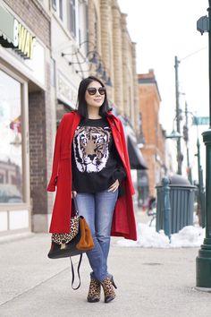 Petite winter fashion street style red  coat + BCBG tiger sweater + soft leopard print booties+ Badgley  Mischka  leopard bag