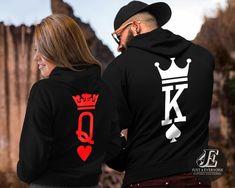 Cap /& Hoodie 4er Set Blue Pink King Queen Motiv Partner Look Pärchen XS XXL