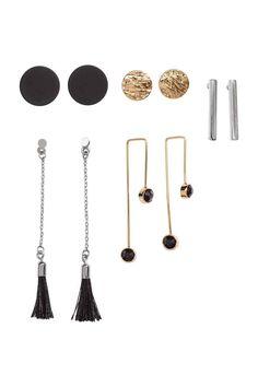 5 pares de brincos : Brincos em metal com diferentes tamanhos e formatos…