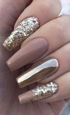 Gold Glitter Nails, Blue Acrylic Nails, Sparkly Nails, Rose Gold Nails, Fabulous Nails, Gorgeous Nails, Pretty Nails, Bling Nail Art, Rhinestone Nails