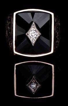 Black Jade Diamond Ring  BJ-604 - MEN\'S RINGS   Bellevue, WA