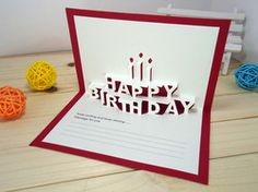 Lettering happy birthday card template with 3d paper pink flowers.
