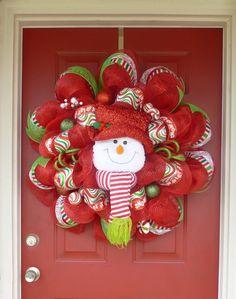 Snowman Christmas Deco Mesh Wreath by WorldofWreaths