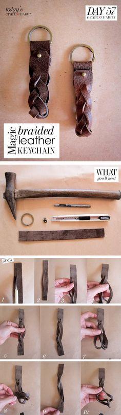 TUTORIAL:: Day 57 - Magic Braided Leather Keychain