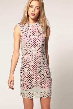 ASOS Shift Dress With Laser-Cut Overlay