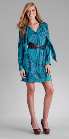 Hale` Bob  : Teal Snake Charmer Stretch Silk Belted Long Sleeve Dress