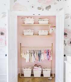 """Closet interior is """"My Sweetheart"""" by Behr paint. More pics of this cute nursery we worked on with @monikahibbs are on the blog…"""