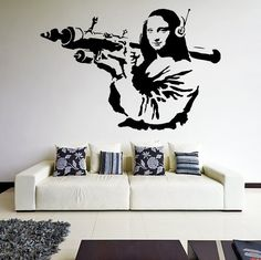Banksy Vinyl Wall Decal Mona Lisa / Mona Liisa Rocket Launcher Home Decor Sticker / Davinci Paint Street Art Graffiti Sign + Free Decal Gift