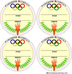 Medal Templates: Award students with medals for events like spelling, matk, etc. Olympic Idea, Olympic Games, Summer Crafts, Crafts For Kids, Royal Family Kids Camp, Theme Sport, Vive Le Sport, Olympic Crafts, Olympic Medals