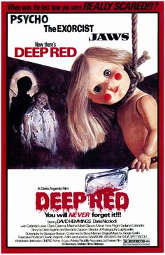 Deep Red Poster From 1975 - Review Here -   http://scaryfilm.blogspot.com/2017/10/deep-red-review.html