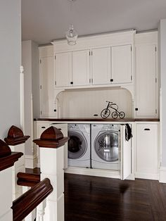 This is a great alternative for homes that currently have a laundry closet, whether its in the upstairs hallway or in the kitchen. It's also an idea for anyone who has their laundry room in the basement and has room somewhere else in the house for this. Hidden Laundry, Laundry Area, Laundry Closet, Laundry Room Storage, Laundry Room Design, Laundry Rooms, Small Laundry, Laundry Center, Basement Laundry