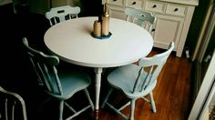 Dining setting recently refinished.  Facebook.com/bevelled.edge