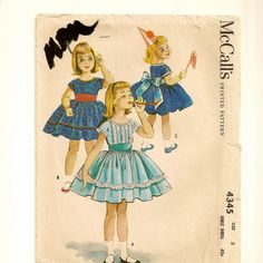 A Wide Back-Tie Sash, Short Sleeve, Back Button, Full Gathered Skirted Party Dress Pattern, Vintage 1957