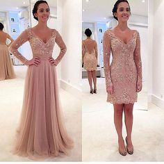 Queen Anna Neckline Long Sleeves 2 In 1 Evening Dress Prom Prom Gown With Removable Skirt on Luulla