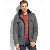 GUESS Coats, Wool Four-Pocket Hooded Coat