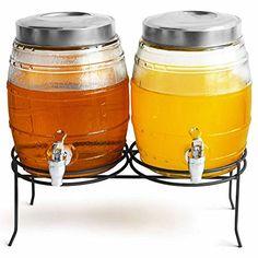 Dual Barrel Beverage Dispenser with Stand 10ltr - Case of 2 | bar@drinkstuff Drinks Dispenser, Barrel Drinks Dispenser, Glass Drinks Dispenser, Mason Jar Drinks Dispenser, Juice Dispenser, Cocktail Dispenser