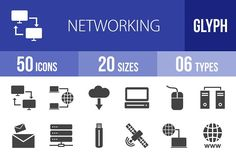 50 Networking Glyph Icons by IconBunny on @creativemarket