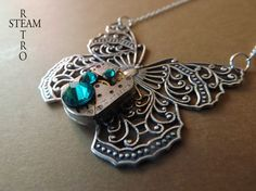 FREE SHIPPING USA Clockwork Mariposa Butterfly Steampunk Necklace - Steampunk Jewelry by Steamretro