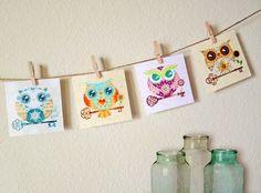 Paper Owls Mini Art Collection Set of 4 Nursery by sandragrafik