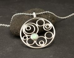 Opal Circle Necklace- Opal Pendant- Sterling Silver Necklace with Opal- Modern Silver Pendant