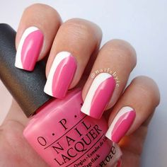 Stylish Pink and White Summer Nails